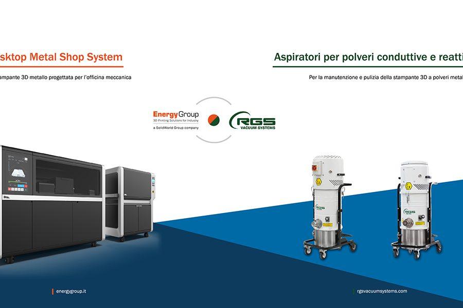 RGS VACUUM SYSTEMS PARTNER UFFICIALE DI ENERGY GROUP PER LA PULIZIA DELLE STAMPANTI 3D