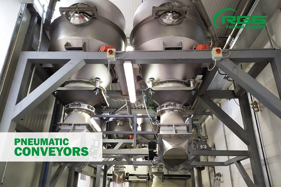 Pneumatic conveying for handling food powders